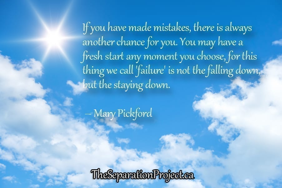 If you have made mistakes, there is always another chance for you. You may have a fresh start any moment you choose, for this thing we call 'failure' is not the falling down, but the staying down. – Mary Pickford